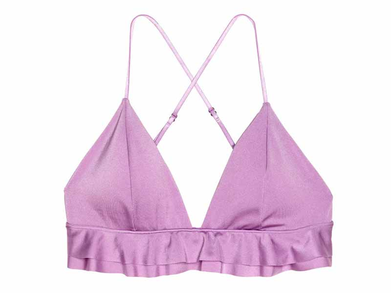Lilac bikini top by H&M available at Mall of the Emirates and Majid Al Futtaim City Centres