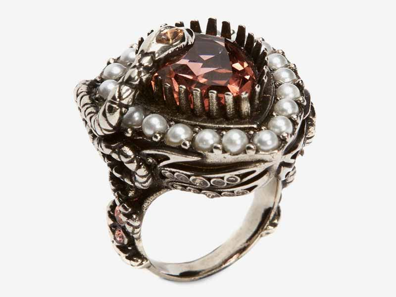 Ruby-red jewel and pearl encrusted ring