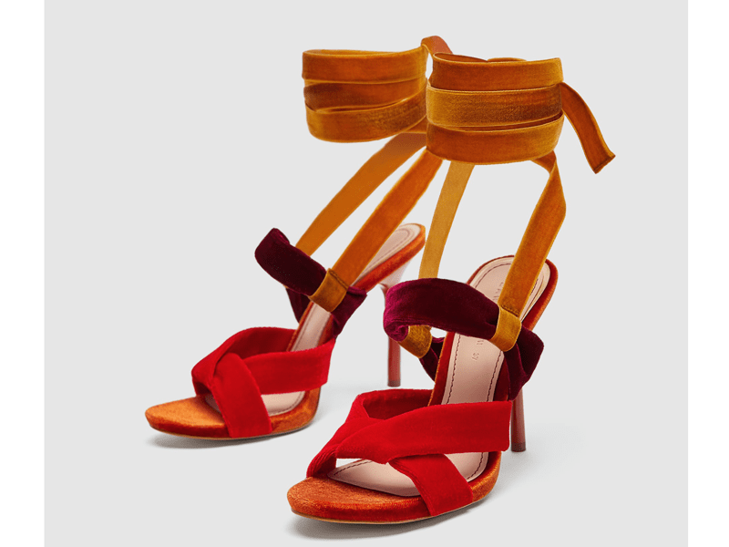 Velvet strappy sandals by Zara available at Mall of the Emirates and City Centres