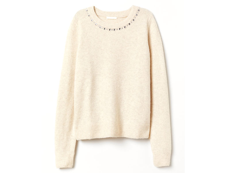 White jumper by H&M, available at Mall of the Emirates and Mall of Egypt, plus City Centres